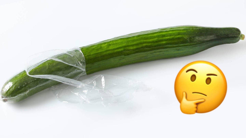 Gurke in Plastik verpackt – muss das sein? (Foto: imago/CTK Photo, Collage: SWR3)