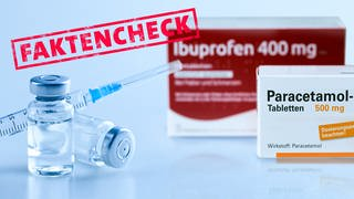 Corona-Impfstoff, Schmerzmittel, Paracetamol und Ibuprofen (Foto: SWR, Adobe-Stock/Tobias Arhelger/Thaut Images/SWR3-Faktencheck-Logo)