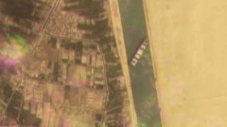 This satellite image of Planet Labs Inc. in the Suez Canal